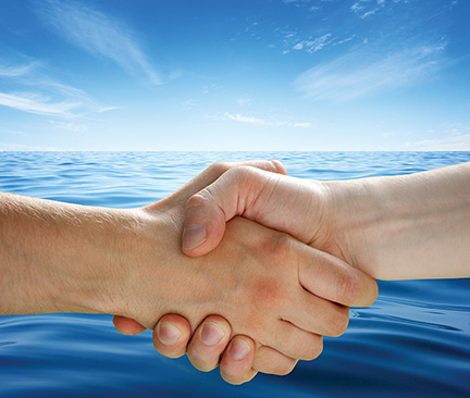 Handshake with ocean in background image