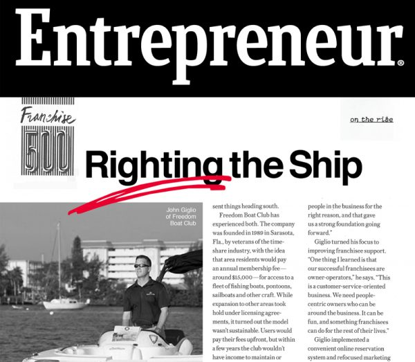 "Snapshot of article ""Righting the ship"""